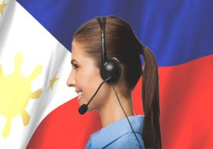 A Female Call Agent in Front of the Philippine Flag
