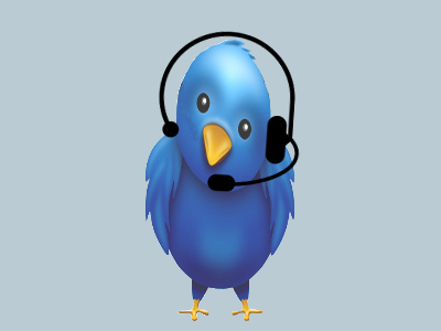 Animated Blue Bird with a Headset