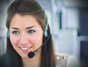 A photo of a virtual assistant in the Philippines talking to a customer