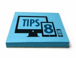 """Blue graphic illustration with the """"8 tips"""" text on it"""