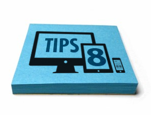"Blue graphic illustration with the ""8 tips"" text on it"
