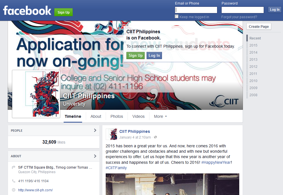 CIIT Philippines Facebook page screenshot