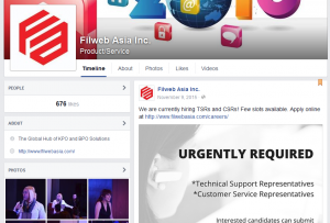 Filweb Asia, Inc. Facebook page screenshot