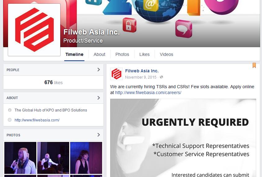 Filweb Asia, Inc. Facebook page screenshot