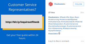Filweb Asia, Inc. Instagram account screenshot