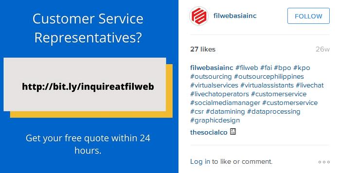 Filweb Asia, Inc. Instagram account screenshot
