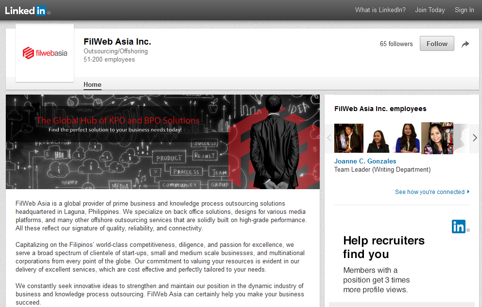 Filweb Asia, Inc. LinkedIn screenshot