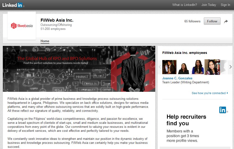Filweb Asia, Inc. LinkedIn screenshot