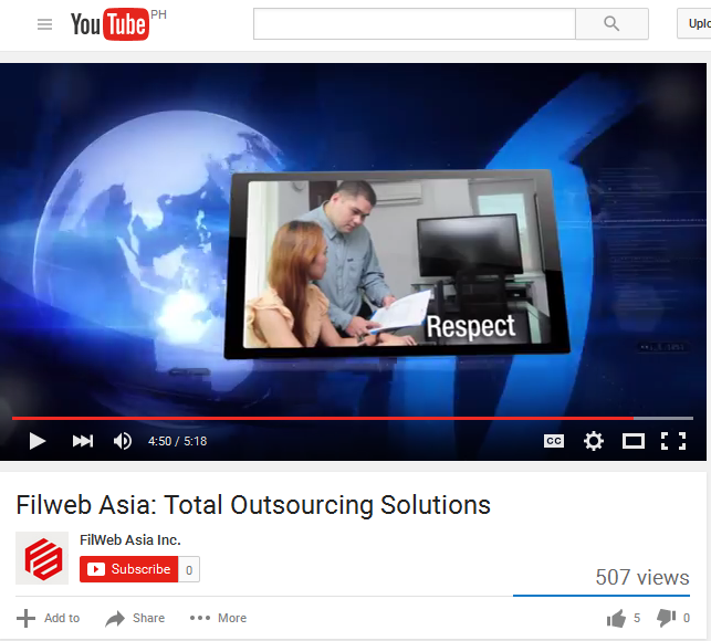 Filweb Asia Inc youtube screenshot