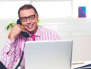 inbound customer service representative makes a call