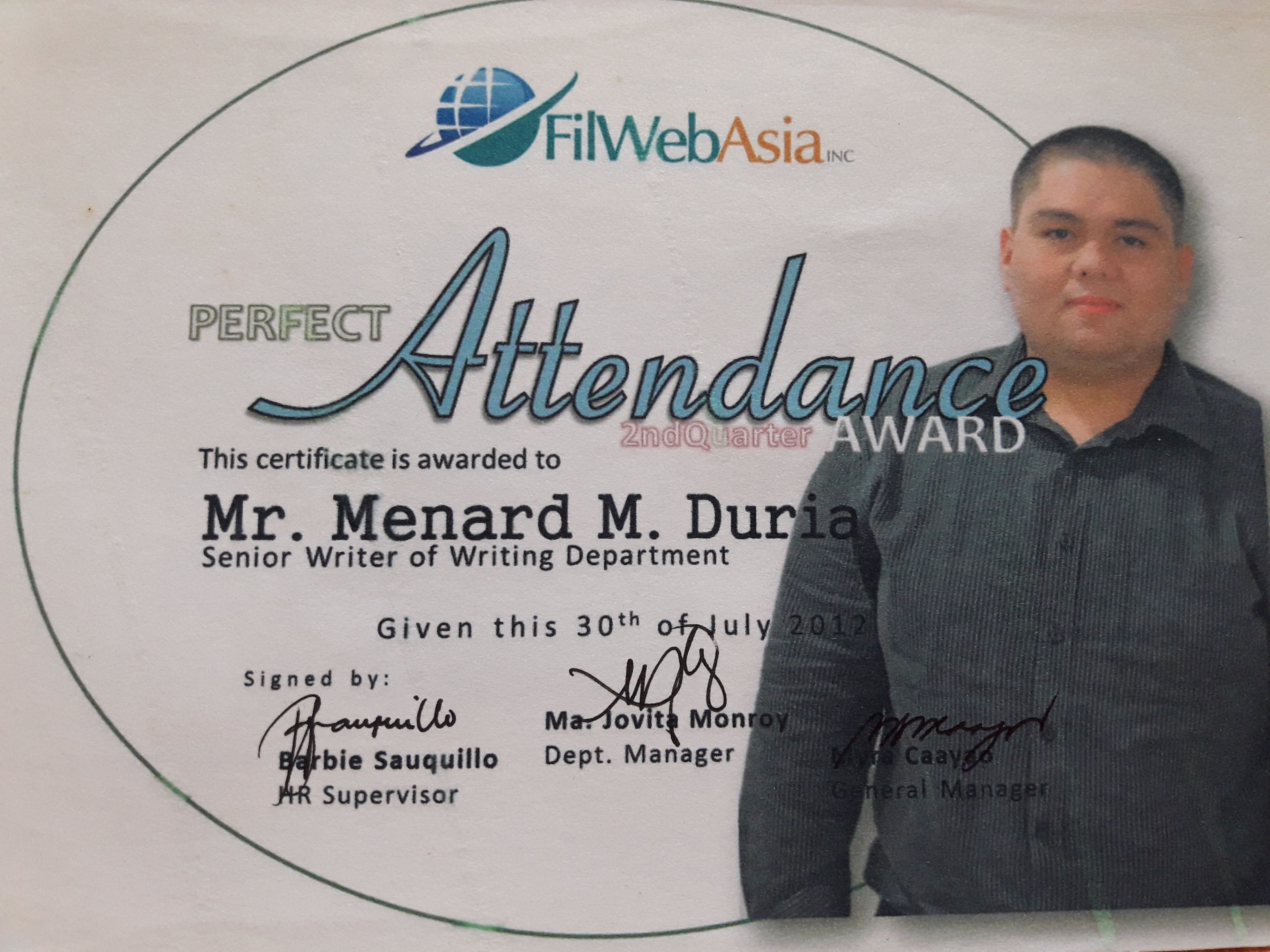 perfect attendance awardee in 2012