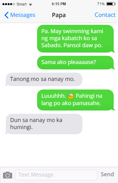 Filipino dad: text message
