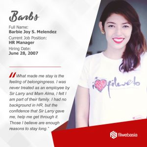 FilWeb Asia's longtime employees - Barbie