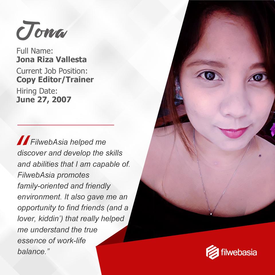 FilWeb Asia's longtime employees - Jona
