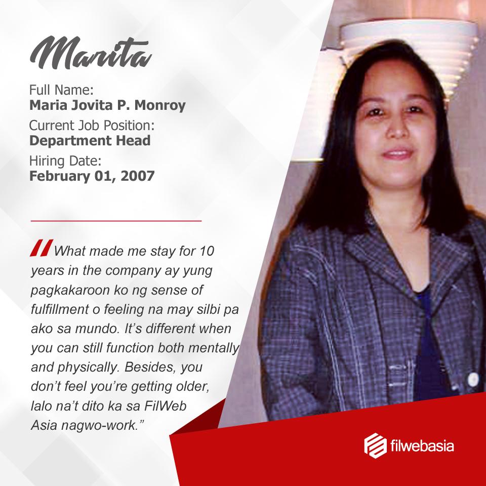 FilWeb Asia's longtime employees - Marita