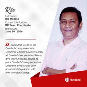 FilWeb Asia's longtime employees - Rio