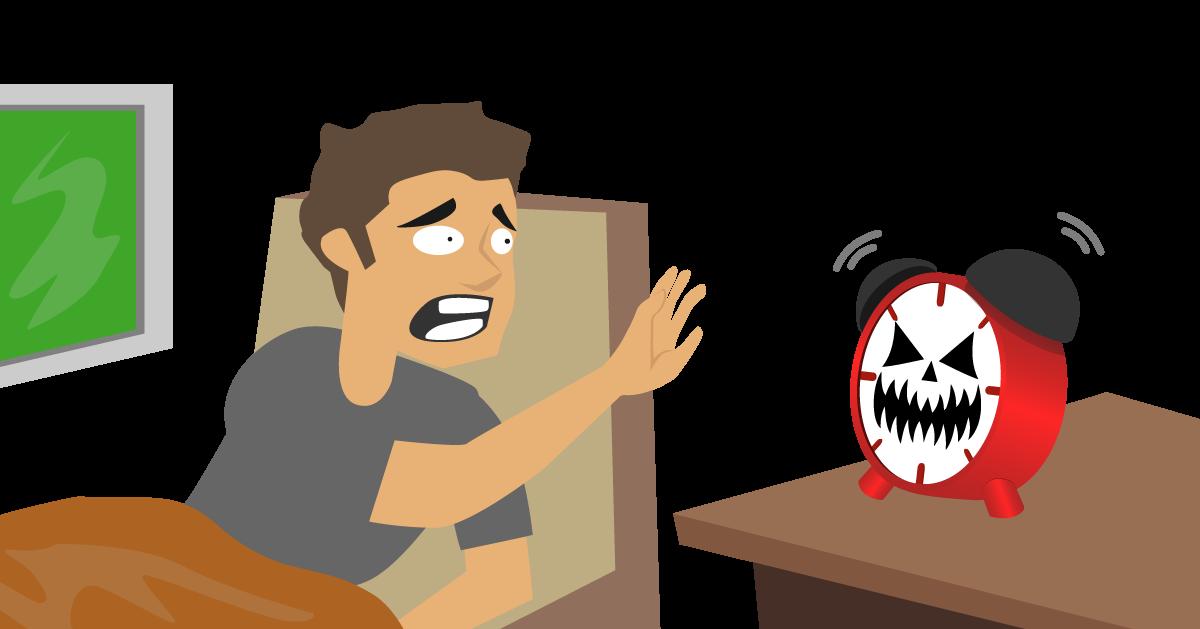katatakutang dinaranas ng mga empleyado a guy stunned by a scary alarm clock