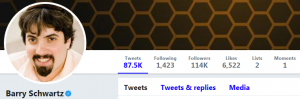 Screenshot of Barry Schwartz' Twitter account - one of the digital marketing experts at Twitter