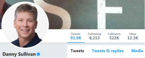 Screenshot of Danny Sullivan's Twitter account - one of the digital marketing experts at Twitter
