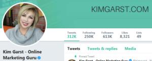 Screenshot of Kim Garst's Twitter account - one of the digital marketing experts at Twitter