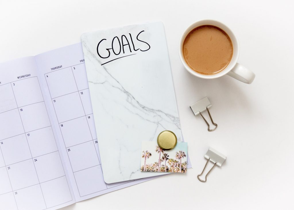 flat lay photo of goal setting and planning